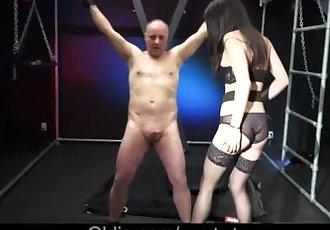 Cute brunette spank an old man in wild sex