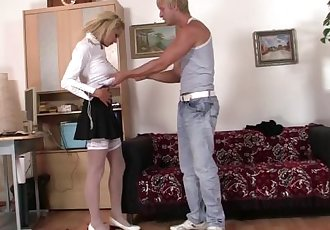 Office blonde in white stockings takes hard fucking
