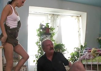 She rides oldman cock and gets busted