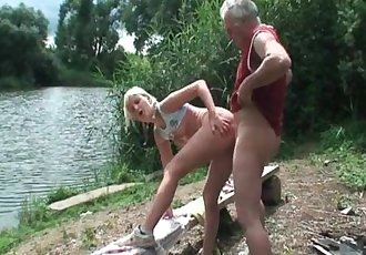 Stunning blonde fucks grandpa
