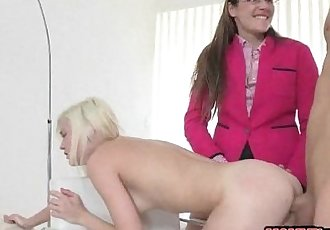 Two sexy women Samantha Ryan and Chloe Foster threesome