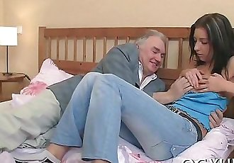Cute young gal fucked by old lad