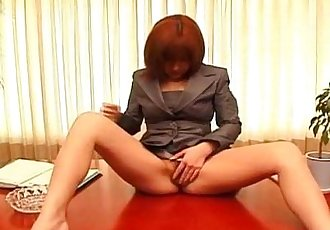 Sexy office lady Anna Yumisaki masturbating - 6 min