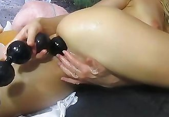 Teen Forces Monster anal beads In Small ass First Time