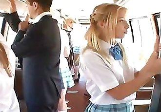 Blonde receives screwed on bus