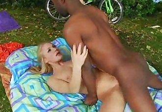 Black Neighbor Fucks White Blonde Teen Outside