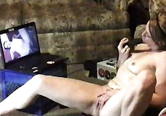 Voyuer Teen watching Interracial porn using dildo - 3 min