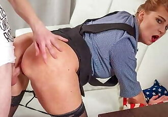 TUTOR4K. Older Redhead Isnt Private Teacher for Man but just a Slut