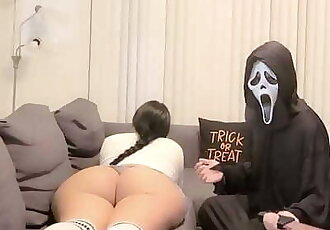 On Halloween Home alone Big Ass Schoogirl SLUT get Fucked by Intruder. she Thinks its her StepBro..