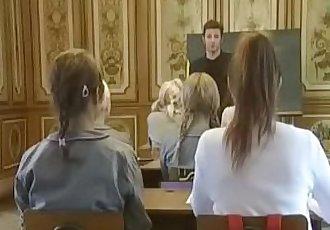 School Girls Classic Movie -- Round Ass Schoolgirls fucked Doggy-style in Skirt