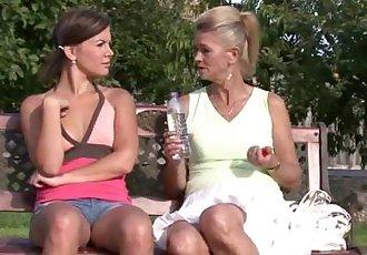 Lesbian granny pleasing her son\