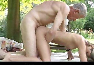Oldman fucks nasty and sexy blonde Gina Gerson