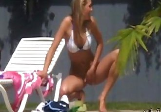Teen Kasia Sunbathing At The Pool A Gets Horny And Rubs One Off