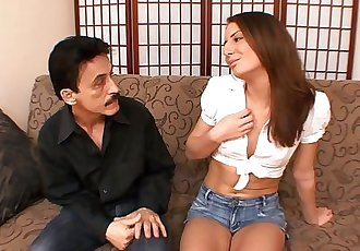 Dirty Harry pumping 50 year old DADDY DICK into TINY TIT TEEN!