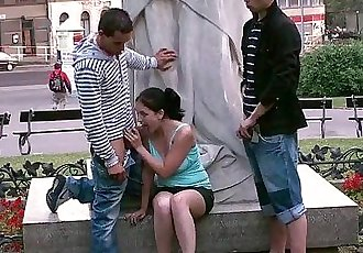 PUBLIC teens street sex GANGBANG by a famous statue PART 3 - 3 min