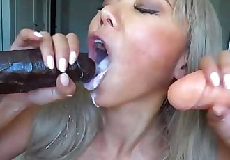 Very hot asian deep throats and gags on huge dildos then swallows cum