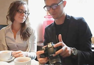 Pickup hot nerdy girl at coffee shop and fuck her at home