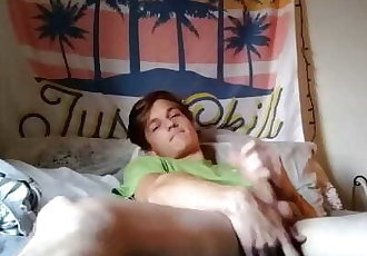 Horny Teen with Broken Leg Tastes his own Cum