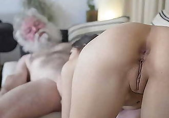 White Hair old Man Fucks Teen Pussy so Tight and Young Hardcore Fucking