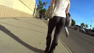Very cute girl in hot see thru leggings street
