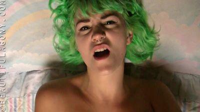 Green haired girl masturbating
