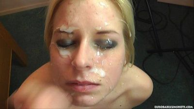 Jenny gets a huge load on her face in her first scene: eurobabecumshotsHD