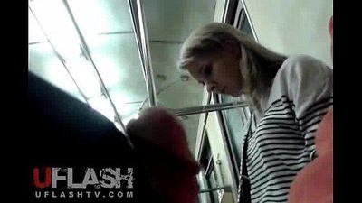 Flash Cum for Blonde Amateur Teen in Public Train
