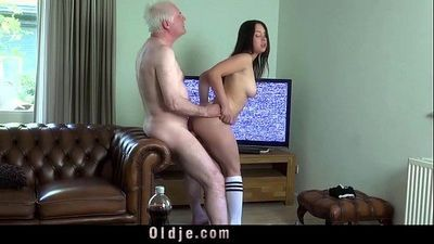 Young busty wife fucking old hubby cock deepthoat sucking cum in mouthHD