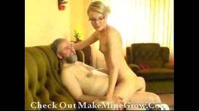 Old Man Shows Hot Young Blonde How It\