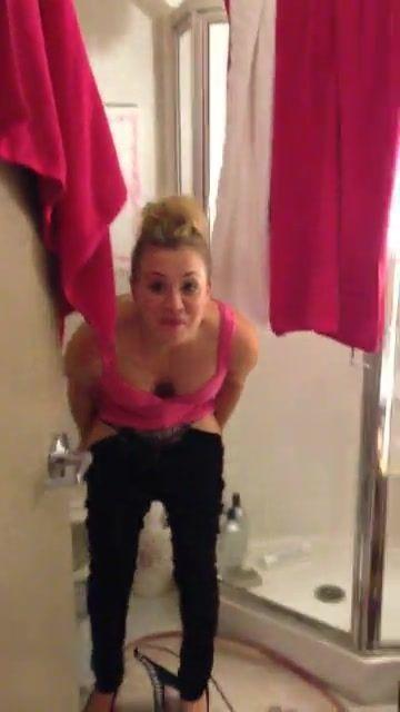 Kaley Cuoco Nude in the Bathroom