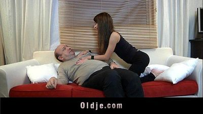 Old man devoured by a young beautiful creatureHD