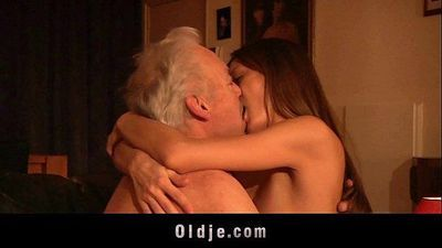 Gorgeous young girl ass fuck and swallow old man cumHD