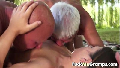 Jenny sucking two real old cocks