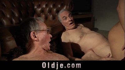 Young babes fucking surprise for old men in the mansion of hard cumshotsHD