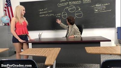 Hot Blonde Schoolgirl Sucks and Fucks Her Teacher!HD