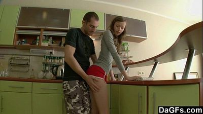 Tall and thin russian girl sodomized in the kitchenHD