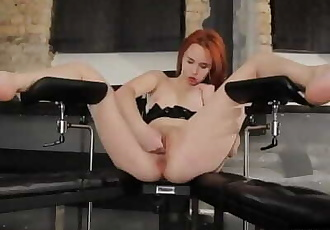 Cute little redhead finger fucking her wet pussy