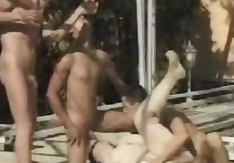 Fat European Bitch Gets Piss Fuck Gangbang by Young Studs and their Mother