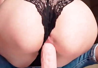 Blonde Masturbate and Hardcore Cowgirl Big Dildo - Female Orgasm
