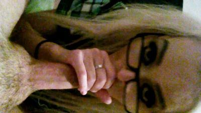 POV sexy blonde in glasses loves to suck that cock!