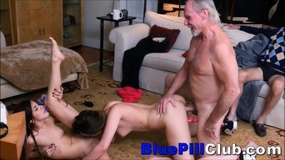 Hot Teenage Lesbians Fuck Party With 2 Old Geezers