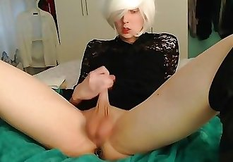 Crossdresser with a massive bad dragon
