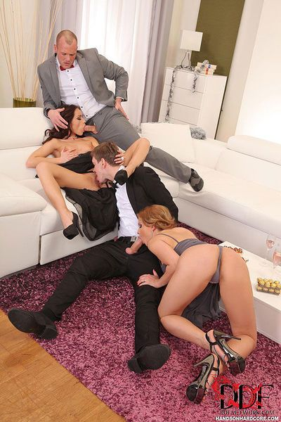 Clothed Euro moms Abbie Cat & Sophie Lynx undress for DP in foursome sex