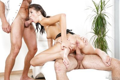 Brunette Meg Magic in maid uniform getting double penetration in hot threesome - part 2