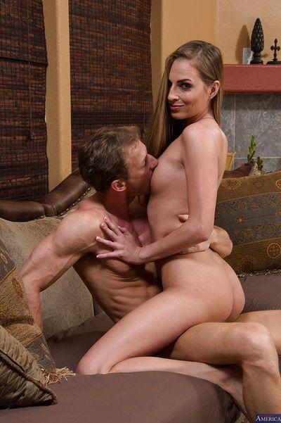 Seductive brunette Roxy Rox is sucking this nice venous cock - part 2