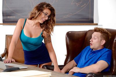 Nerdy teen Layla London riding her geography teacher\