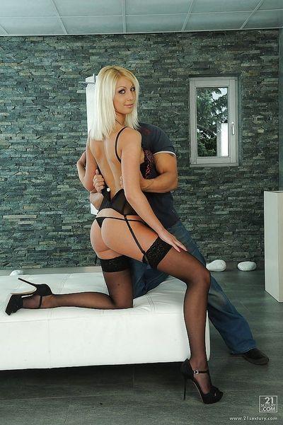 Hot european blonde in stockings Pamela Blond gets her pussy slammed