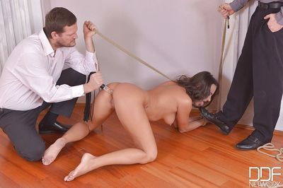 BDSM sex with pretty perverted submissive brunette Mea Melone - part 2