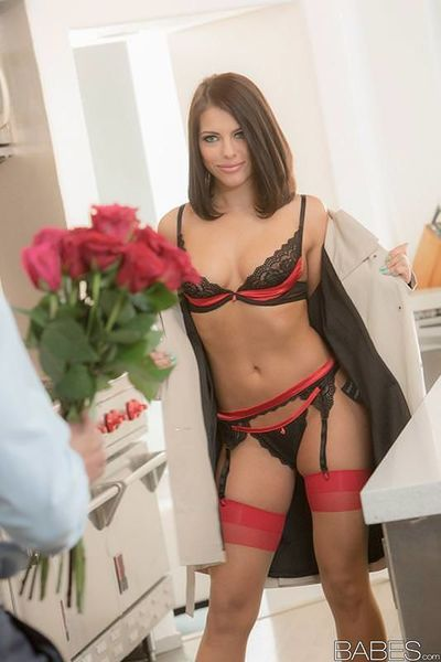 Classy brunette bombshell in sexy lingerie Adriana Chechik rides a rod