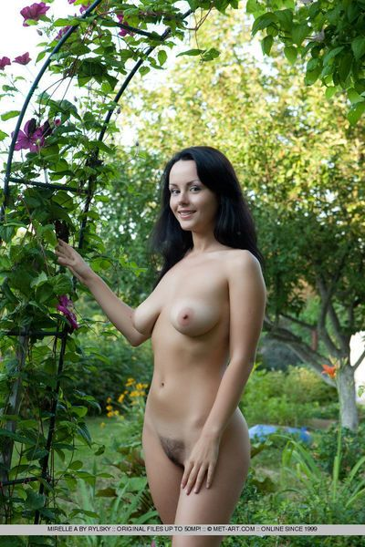 Pretty face brunette Mirelle A spreading legs outdoors to expose hairy beaver - part 2